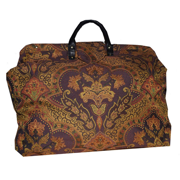PLUM FLORAL MEDALLION TAPESTRY CARPET BAG