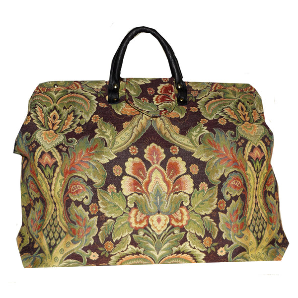 PEACH & MULTICOLOR FLORAL MEDALLION WOVEN TAPESTRY CARPET BAG