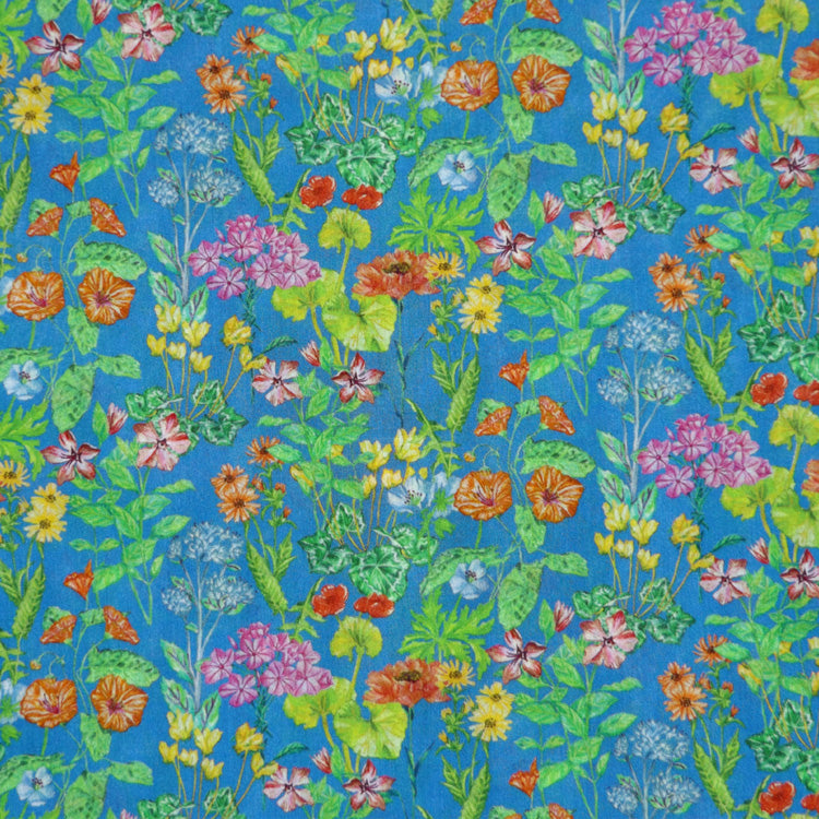 BLUE & MULTICOLOR FLORAL 'POETS MEADOW' LIBERTY LAWN COTTON HANDKERCHIEF