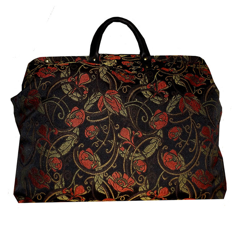RED POPPIES ON BLACK SATEEN CARPET BAG