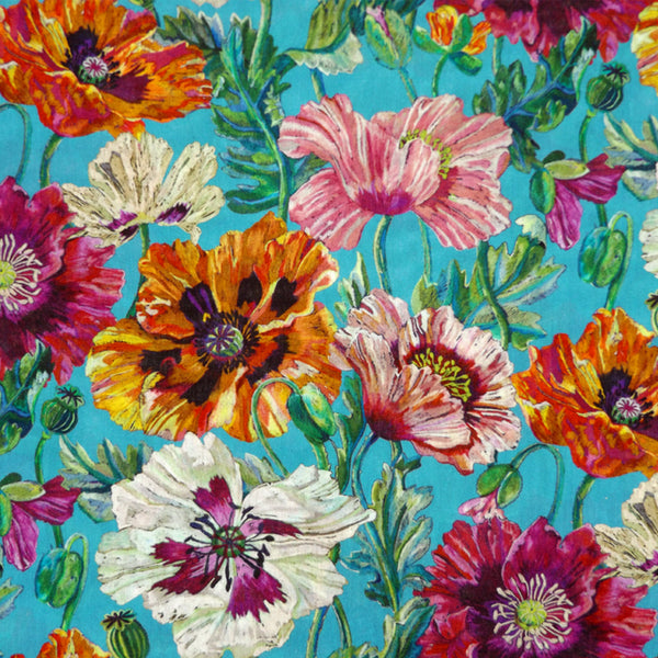 TURQUOISE & MULTICOLORED FLORAL 'POPPY' LIBERTY LAWN COTTON HANDKERCHIEF