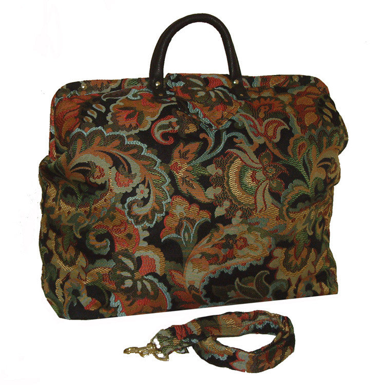 MULTICOLOR FLORAL PAISLEY WOVEN TAPESTRY CARPET BAG