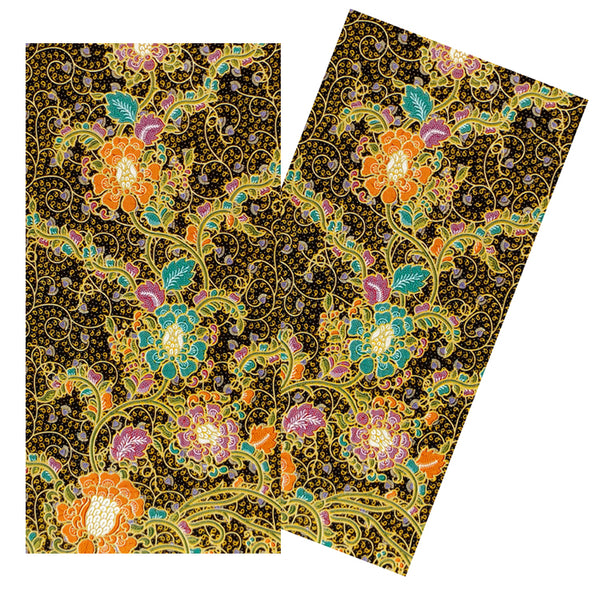 BLACK & MULTICOLOR FLORAL BATIK NAPKIN SET