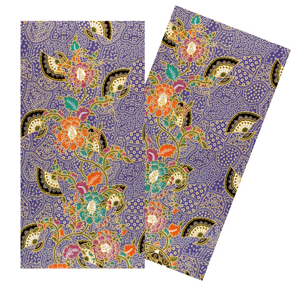 PURPLE & MULTICOLOR FANS & FLOWERS BATIK NAPKIN SET