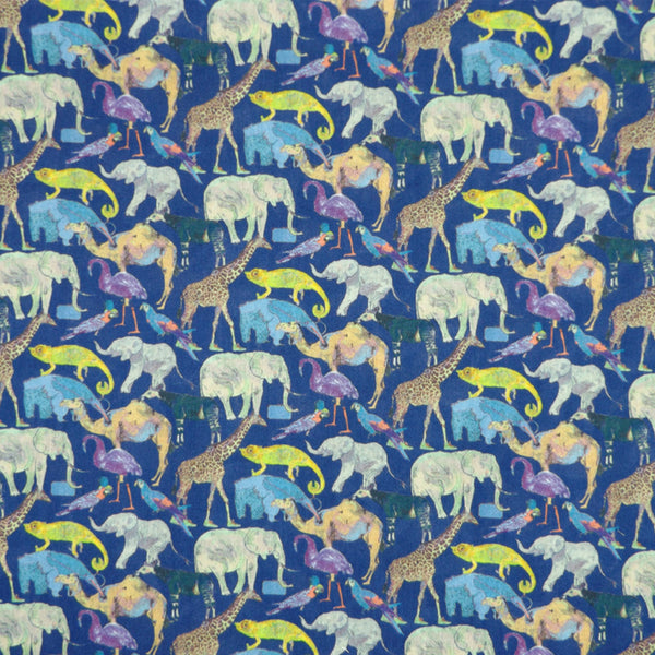ROYAL BLUE & MULTICOLORED 'QUEUE FOR THE ZOO' LIBERTY LAWN COTTON HANDKERCHIEF