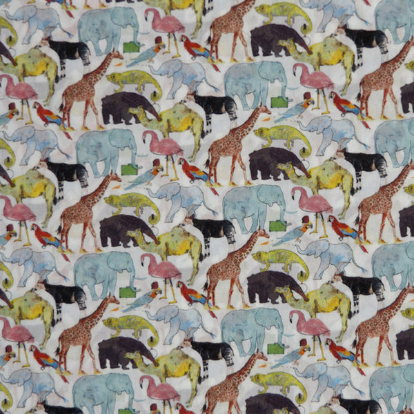 MULTICOLORED WHIMSICAL PRINT 'QUEUE FOR THE ZOO' LIBERTY LAWN COTTON HANDKERCHIEF