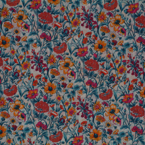 MULTICOLORED FLORAL 'RACHEL' LIBERTY LAWN COTTON POCKET SQUARE HANDKERCHIEF