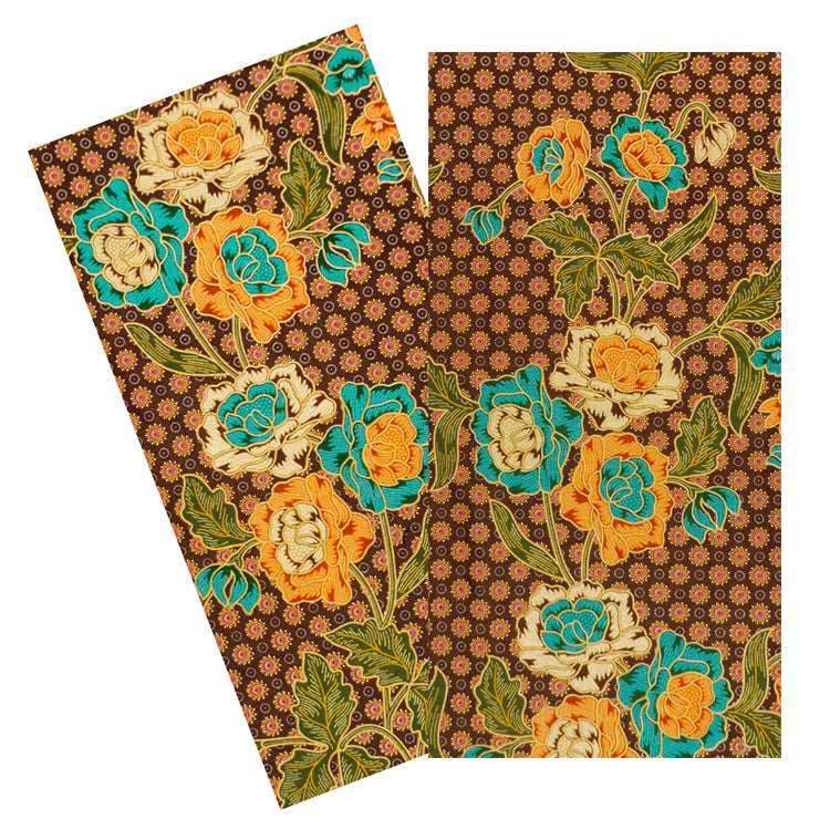 RASPBERRY & BROWN FLORAL BATIK NAPKIN SET