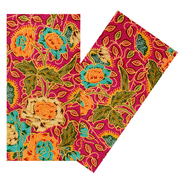 RASPBERRY & MULTICOLOR FLORAL BATIK NAPKIN SET