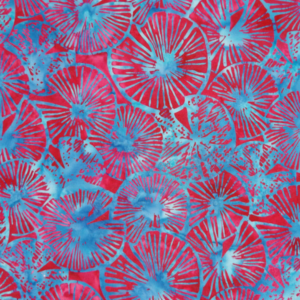 RED & BLUE LILYPADS BATIK HANDKERCHIEF
