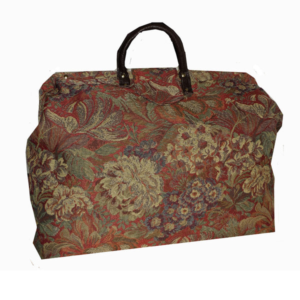 RED & MULTICOLOR FLORAL TAPESTRY CARPET BAG