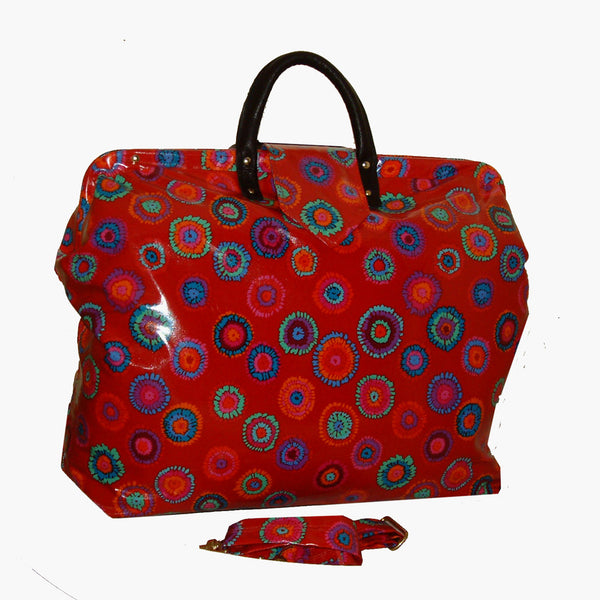MOD FLORAL PUFF LAMINATED CARPET BAG