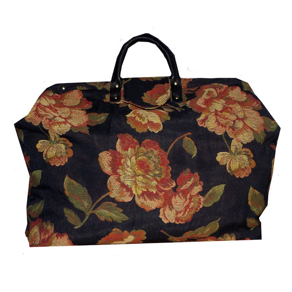 RED FLORAL ON BLACK WOVEN TAPESTRY CARPET BAG