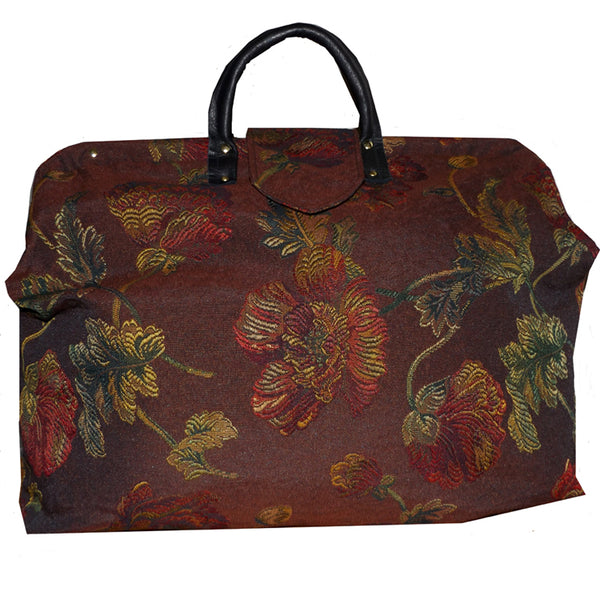 RED & GOLD FLORAL ON BURGUNDY WOVEN TAPESTRY CARPET BAG