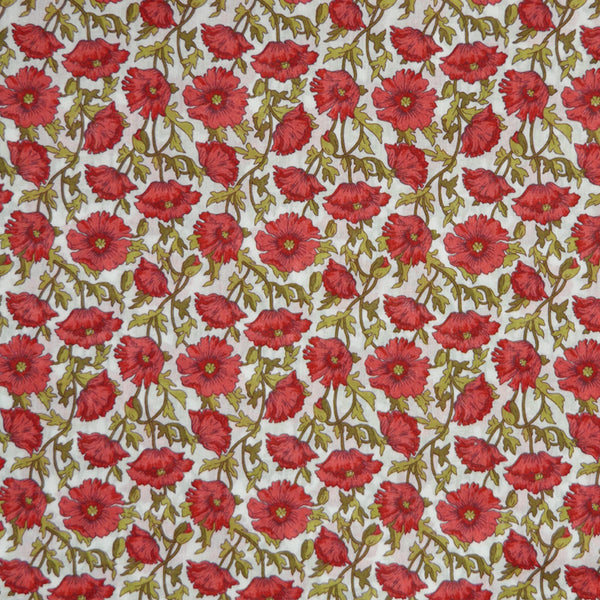 RED & GREEN FLORAL 'ASTELL REECE' LIBERTY LAWN COTTON HANDKERCHIEF