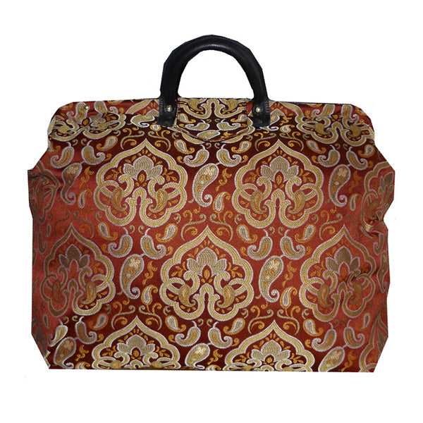 GOLD & SAGE MEDALLION ON RED SATEEN TAPESTRY CARPET BAG