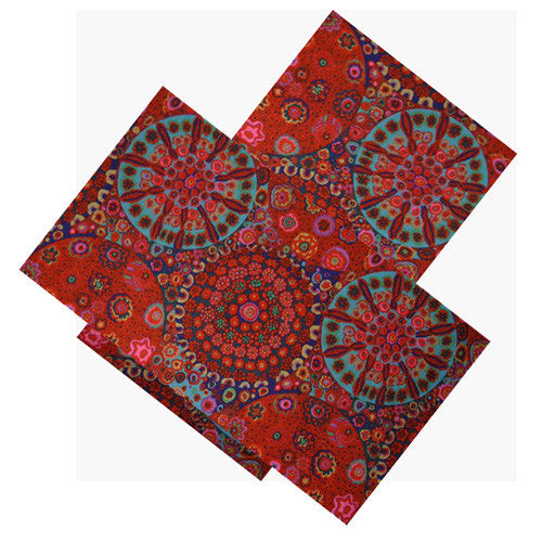 RED MILLEFIORE FLORAL NAPKIN SET