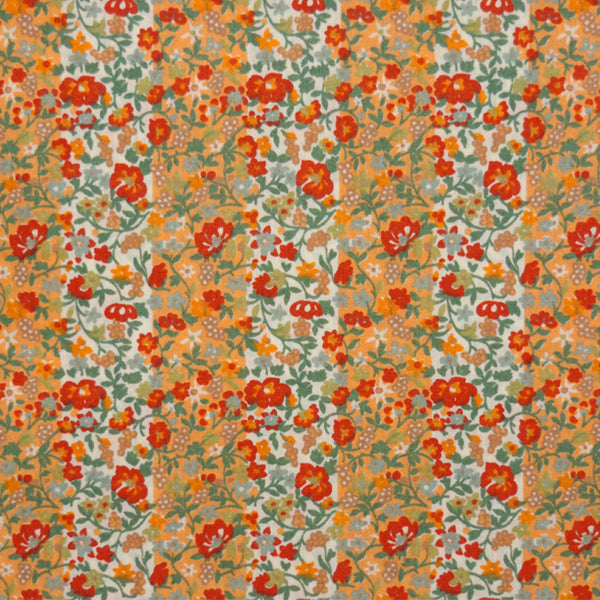 RED & ORANGE FLORAL STRIPE VINTAGE LIBERTY LAWN COTTON HANDKERCHIEF
