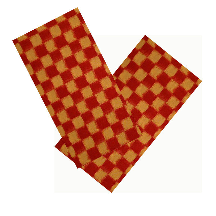 RED & YELLOW IKAT CHECK NAPKIN SET