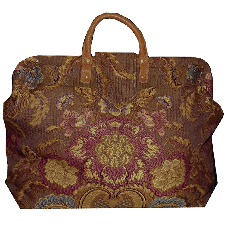 ROSE & MULTICOLOR FLORAL MEDALLION WOVEN TAPESTRY CARPET BAG