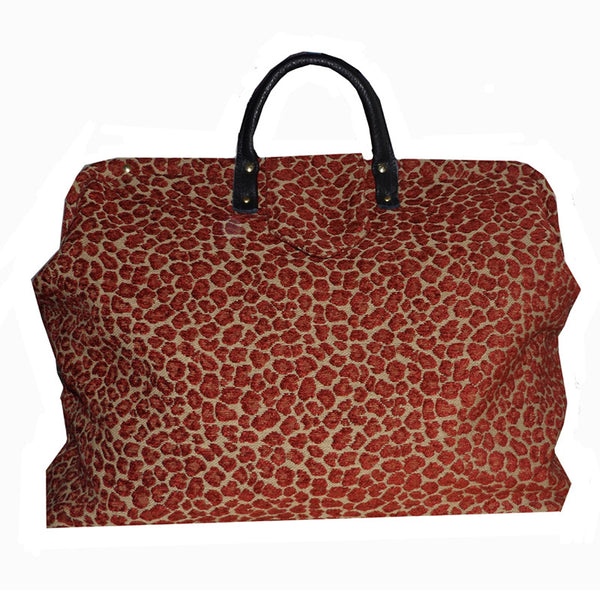 RUBY SPOTS LEOPARD CHENILLE TAPESTRY CARPET BAG