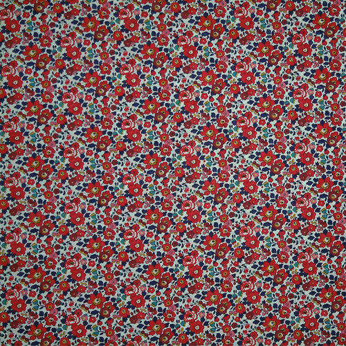 RED & BLUE FLORAL 'BETSY ANN' LIBERTY LAWN COTTON POCKET SQUARE HANDKERCHIEF