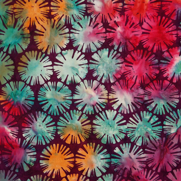 PLUM & MULTICOLOR SUN DISKS BATIK HANDKERCHIEF