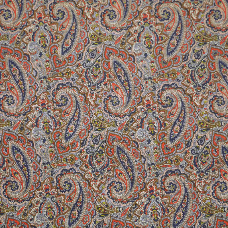 TAN & NAVY PAISLEY 'TESSA' LIBERTY LAWN COTTON HANDKERCHIEF
