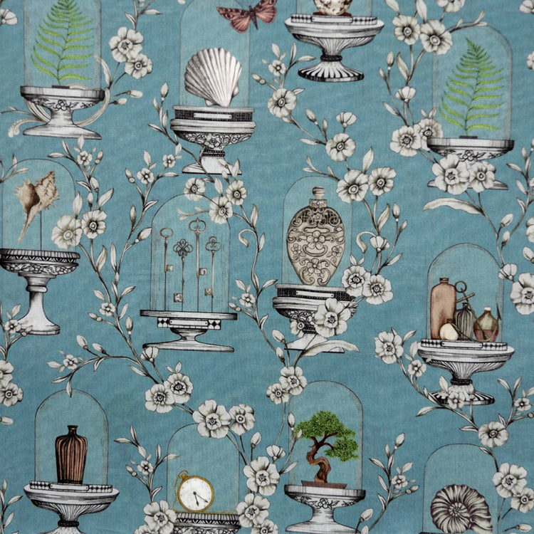 SLATE BLUE NOVELTY PRINT 'THE COLLECTOR' LIBERTY LAWN COTTON HANDKERCHIEF