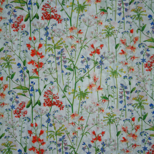 RED & PERIWINKLE FLORAL 'THEODORA' LIBERTY LAWN COTTON POCKET SQUARE HANDKERCHIEF