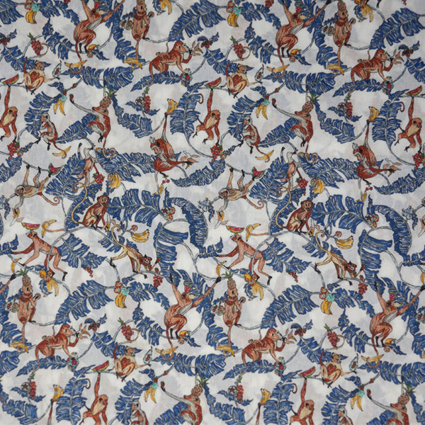 BLUE & WHITE WHIMSICAL LEAF PRINT 'TREE TOPS' LIBERTY LAWN COTTON HANDKERCHIEF