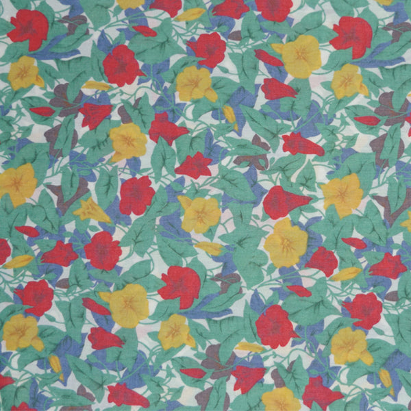 RED & YELLOW TRUMPET FLORAL VINTAGE LIBERTY LAWN COTTON HANDKERCHIEF