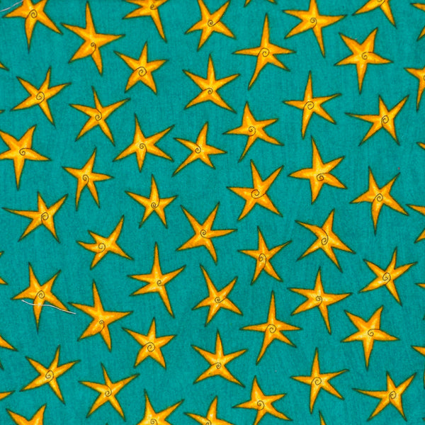 TURQUOISE & GOLD STARS FLANNEL FACE MASK