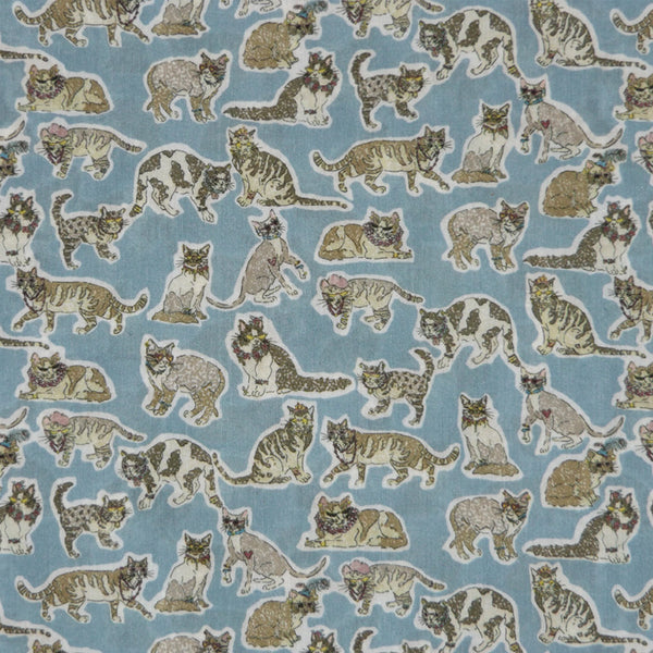 WHIMSICAL CATS PRINT 'WILLOUGHBY MEWS' LIBERTY LAWN COTTON HANDKERCHIEF