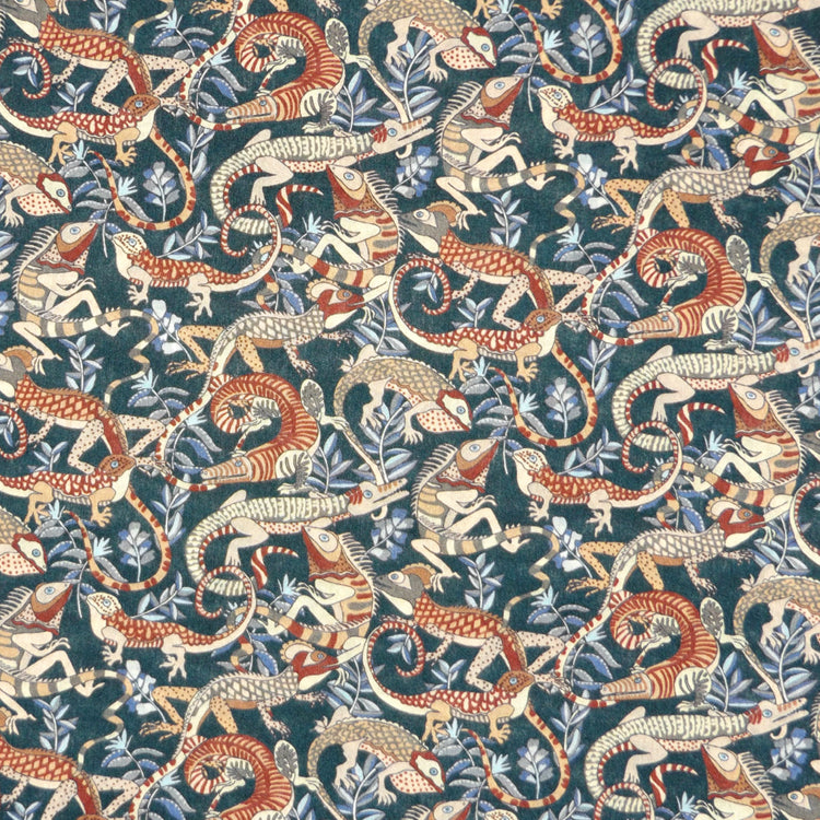 FOREST & RUST PLAYFUL GECKO PRINT 'WINSTON' LIBERTY LAWN COTTON HANDKERCHIEF