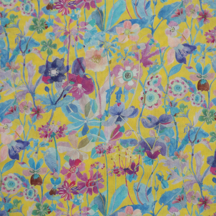 YELLOW & MULTICOLOR FLORAL 'PROPOSAL' LIBERTY LAWN COTTON HANDKERCHIEF
