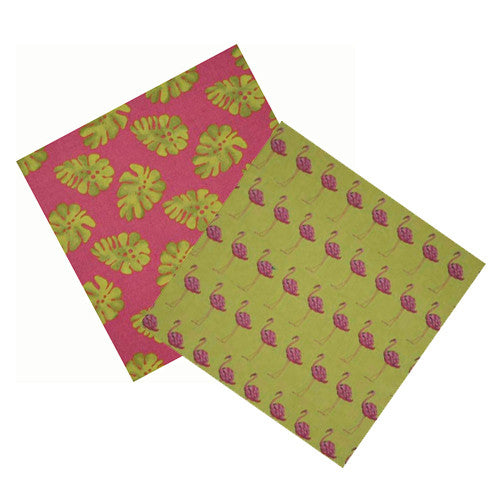 FLAMINGOS IN THE GARDEN COCKTAIL NAPKIN SET