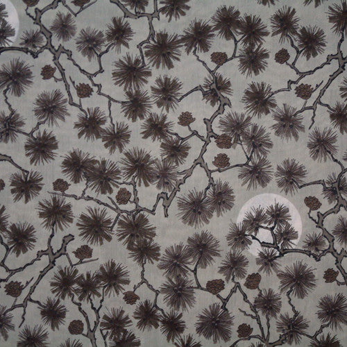 GREY BRANCHES PRINT 'HIRO' LIBERTY LAWN COTTON HANDKERCHIEF