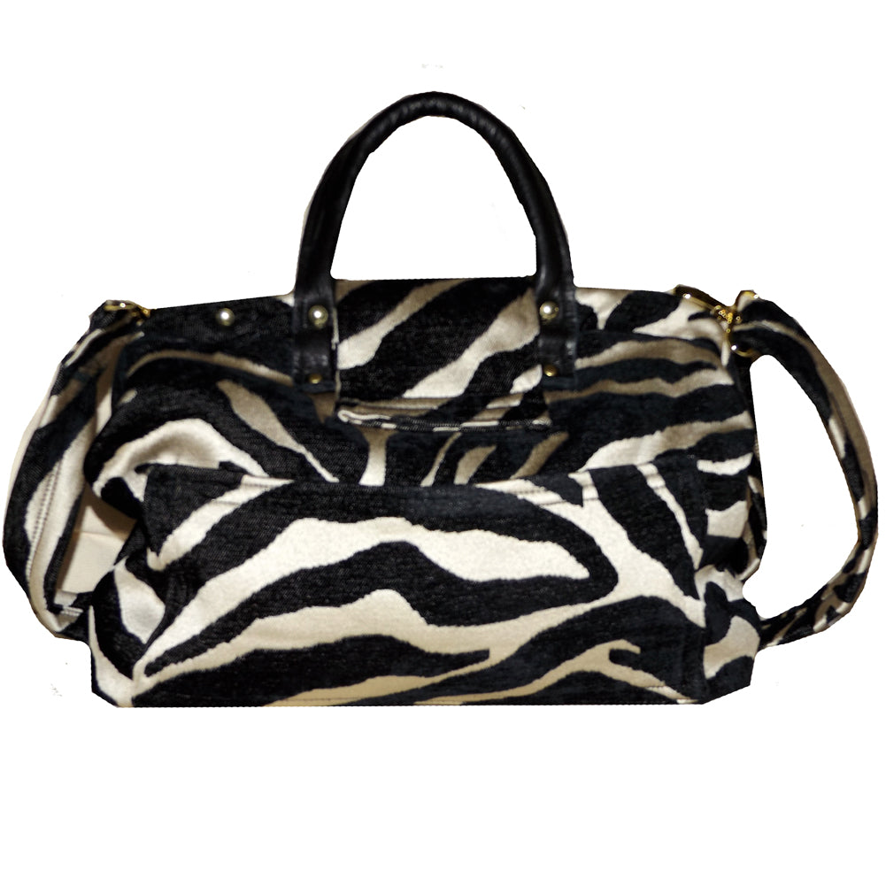 Zebra Chenille Handbag Tapestry Carpet Bag