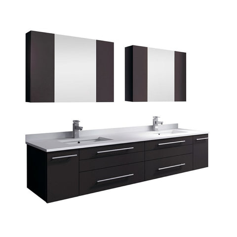 "Lucera 72"" Espresso Modern Wall Hung Double Undermount Sink Bathroom Vanity Set"
