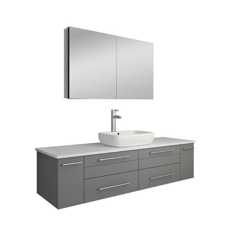 "Lucera 60"" Gray Modern Single Vessel Sink Bathroom Vanity Set"