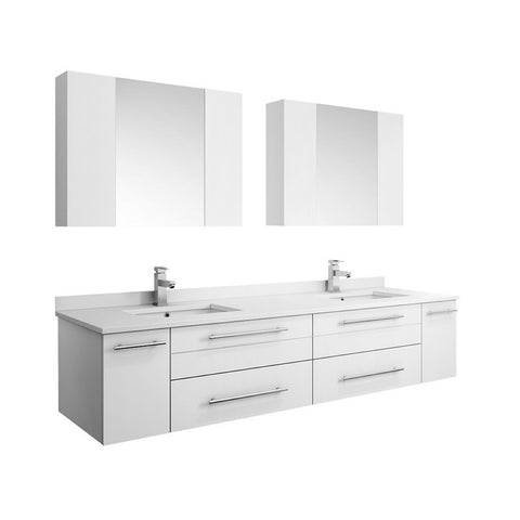 "Lucera 72"" White Modern Wall Hung Double Undermount Sink Bathroom Vanity Set"