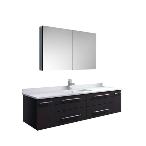 "Lucera 60"" Espresso Modern Single Undermount Sink Bathroom Vanity Set"