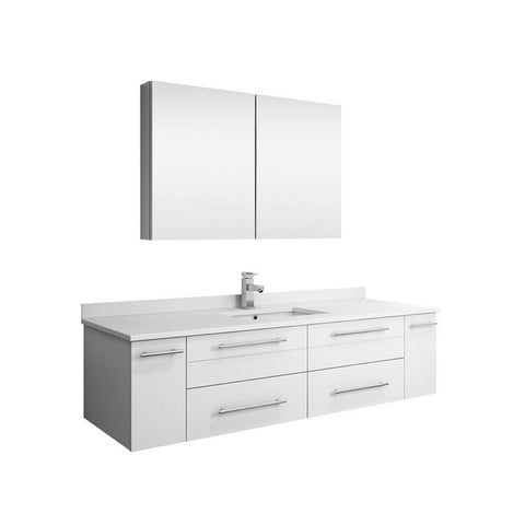 "Lucera 60"" White Modern Single Undermount Sink Bathroom Vanity Set"