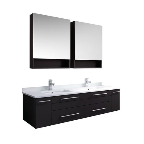 "Lucera 60"" Espresso Modern Double Undermount Sink Bathroom Vanity Set"