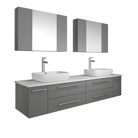"Lucera 72"" Gray Modern Wall Hung Double Vessel Sink Bathroom Vanity Set"