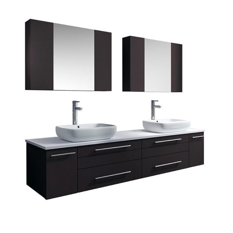 "Lucera 72"" Espresso Modern Wall Hung Double Vessel Sink Bathroom Vanity Set"