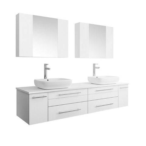 "Lucera 72"" White Modern Wall Hung Double Vessel Sink Bathroom Vanity Set"