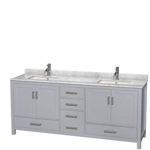 "Wyndham Collection Sheffield 80"" Double Sink Bathroom Vanity WCS141480DGYCMUNSMXX"