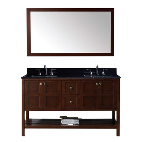 "Winterfell 60"" Double Bathroom Vanity in Cherry w/ Granite Top & Square Sink"
